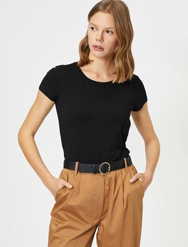 Koton Standart Kalip Bisiklet Yaka Basic T-Shirt Siyah